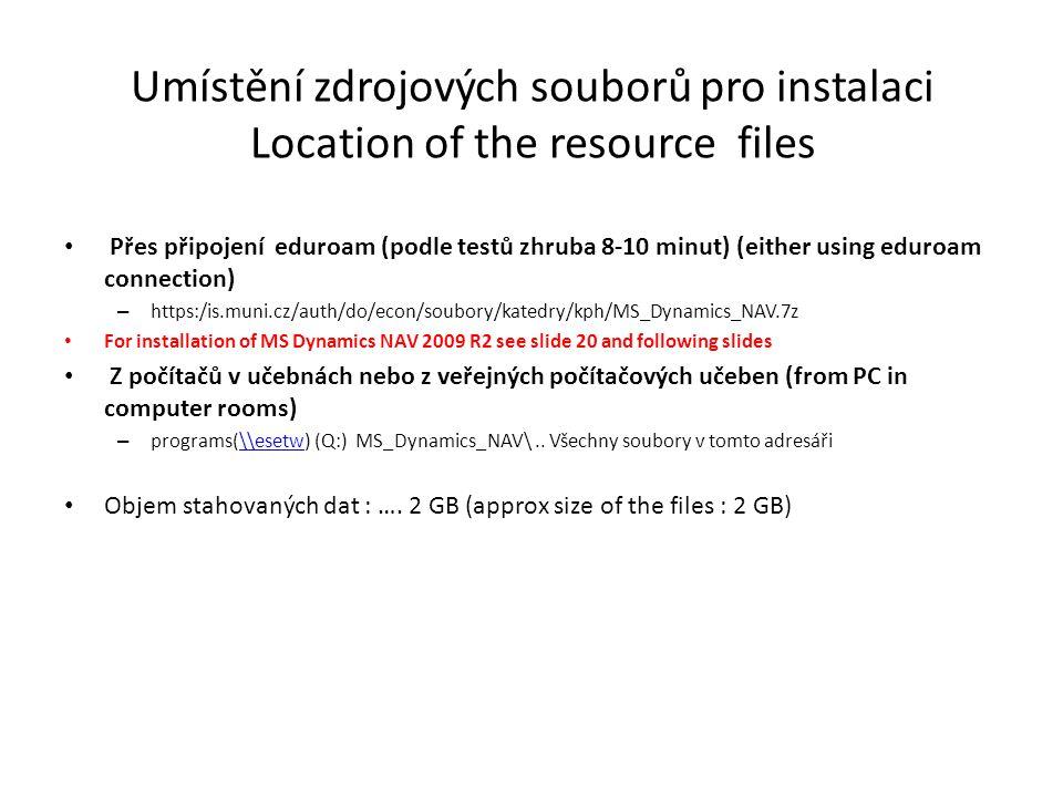 Instalace I /Installation I Doplněk se týká C++ a jde pouze o interní prerekvizitu Installation files Before NAV installation you have to install firstly a small complement Before installation please install vcredist_x86