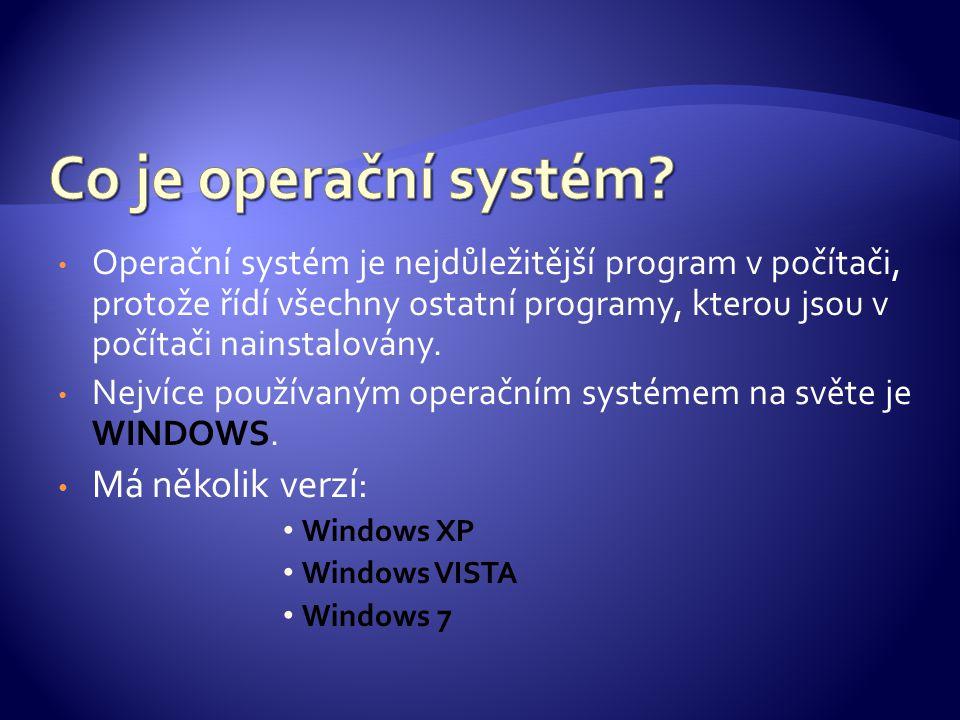 Operační systém je nejdůležitější program v počítači, protože řídí všechny ostatní programy, kterou jsou v počítači nainstalovány. Nejvíce používaným
