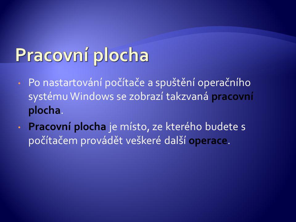 Po nastartování počítače a spuštění operačního systému Windows se zobrazí takzvaná pracovní plocha. Pracovní plocha je místo, ze kterého budete s počí