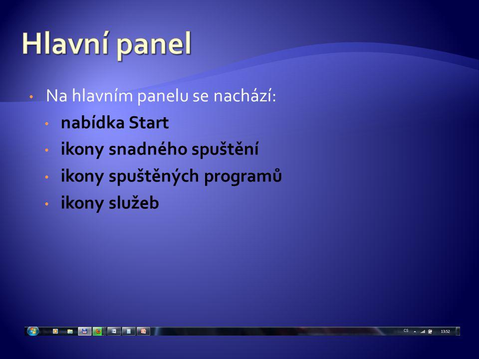 Na hlavním panelu se nachází: nabídka Start ikony snadného spuštění ikony spuštěných programů ikony služeb