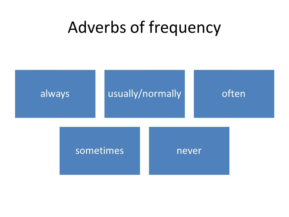 Put adverbs of frequency before a verb I usually learn in the evening.