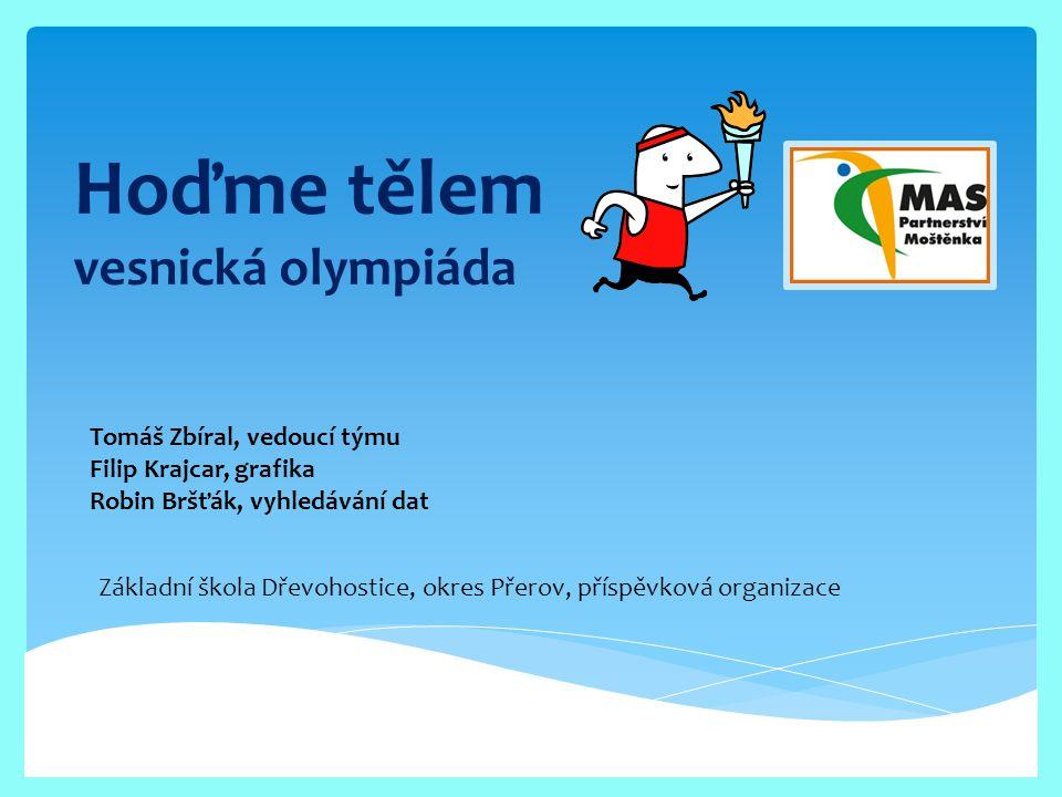 Hoďme tělem vesnická olympiáda Tomáš Zbíral, vedoucí týmu Filip Krajcar, grafika Robin Bršťák, vyhledávání dat Základní škola Dřevohostice, okres Přer