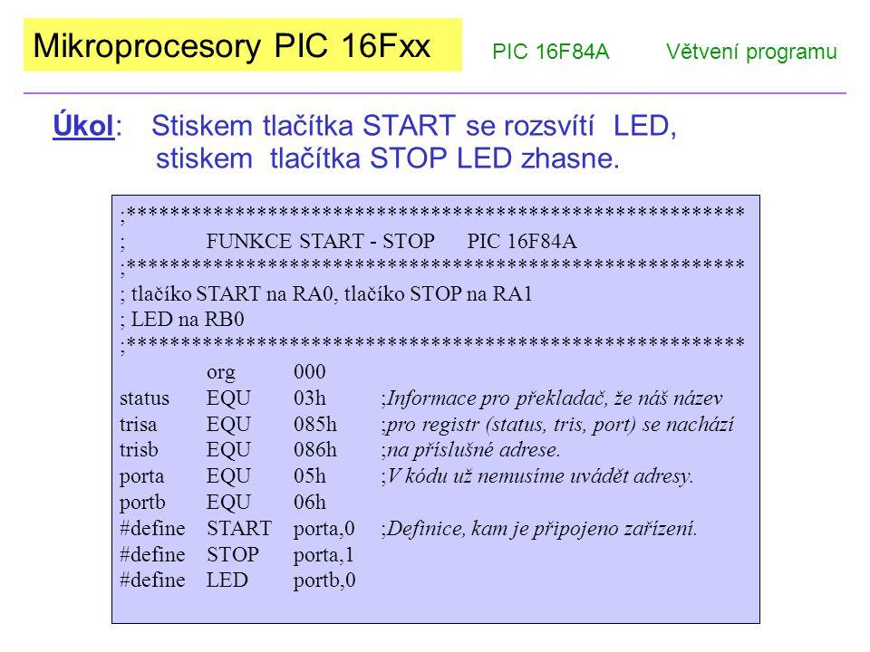 Mikroprocesory PIC 16Fxx Úkol : Stiskem tlačítka START se rozsvítí LED, stiskem tlačítka STOP LED zhasne.