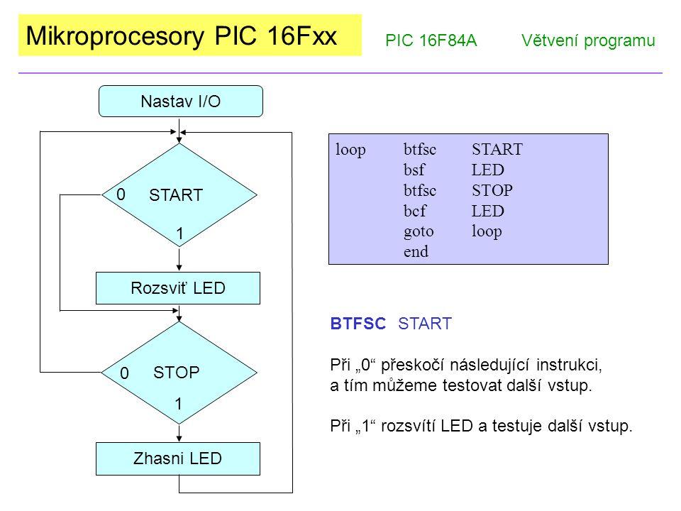 Mikroprocesory PIC 16Fxx Kontrolní otázky: PIC 16F84AVětvení programu 1) Co vykoná direktiva EQU.