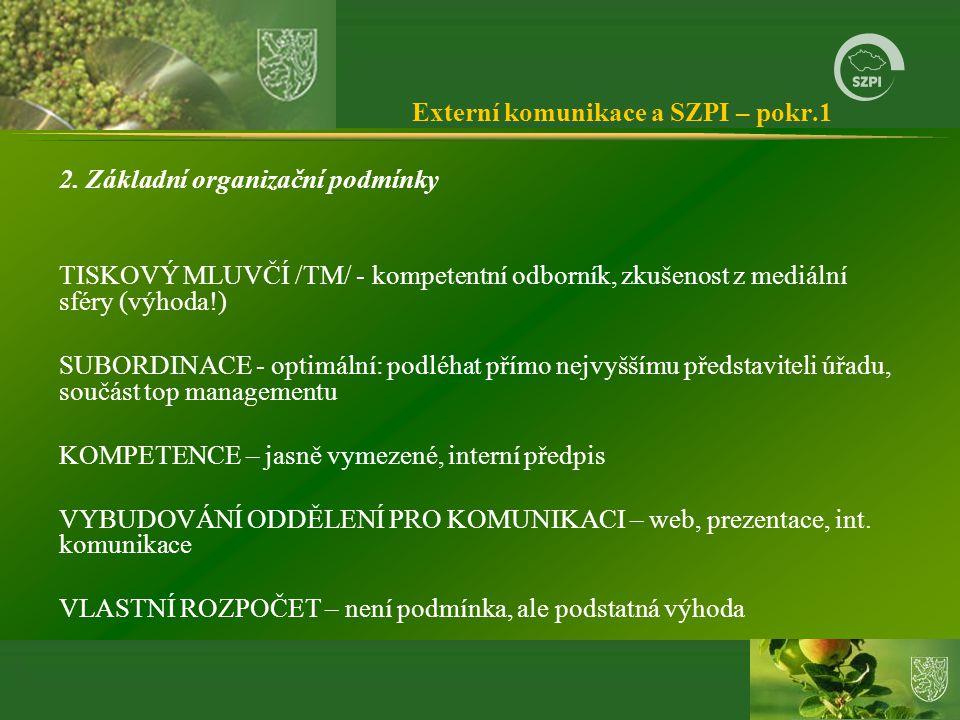 Externí komunikace a SZPI – pokr.1 2. Základní organizační podmínky TISKOVÝ MLUVČÍ /TM/ - kompetentní odborník, zkušenost z mediální sféry (výhoda!) S