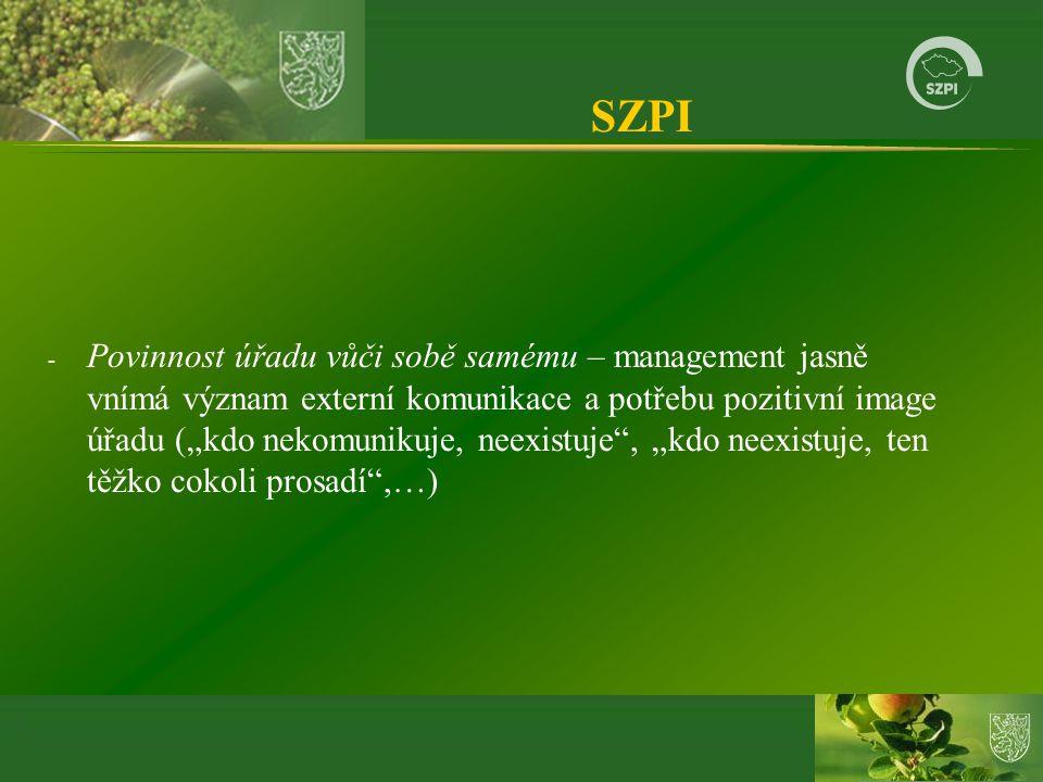 """SZPI - Povinnost úřadu vůči sobě samému – management jasně vnímá význam externí komunikace a potřebu pozitivní image úřadu (""""kdo nekomunikuje, neexist"""
