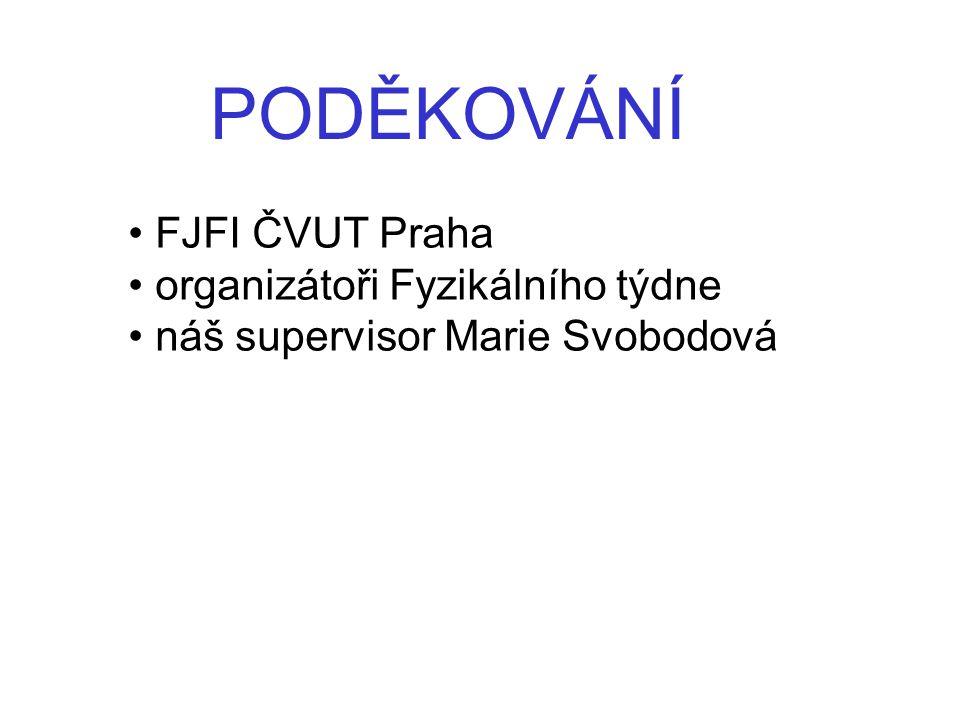 PODĚKOVÁNÍ FJFI ČVUT Praha organizátoři Fyzikálního týdne náš supervisor Marie Svobodová