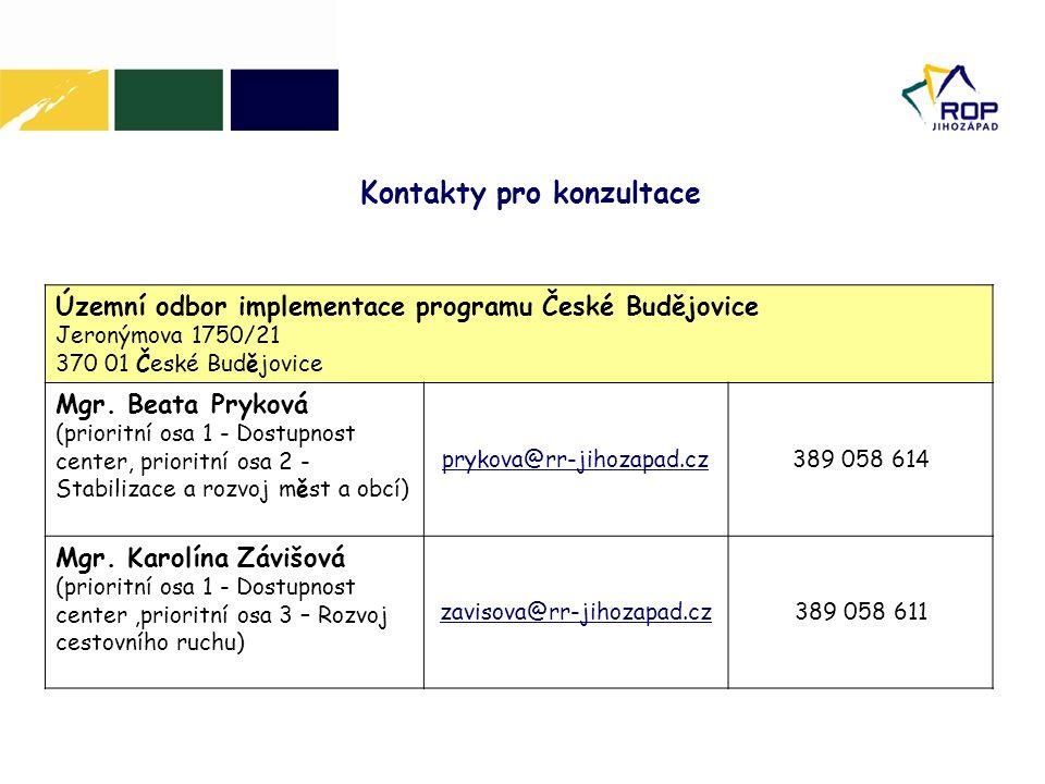 Územní odbor implementace programu České Budějovice Jeronýmova 1750/21 370 01 České Budějovice Mgr.