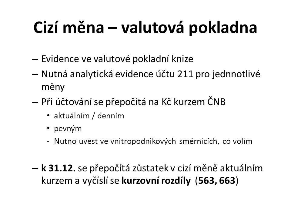 Cizí měna – valutová pokladna – Evidence ve valutové pokladní knize – Nutná analytická evidence účtu 211 pro jednnotlivé měny – Při účtování se přepoč