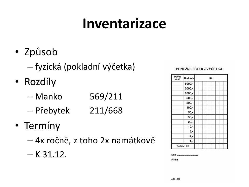 Inventarizace Způsob – fyzická (pokladní výčetka) Rozdíly – Manko569/211 – Přebytek211/668 Termíny – 4x ročně, z toho 2x namátkově – K 31.12.