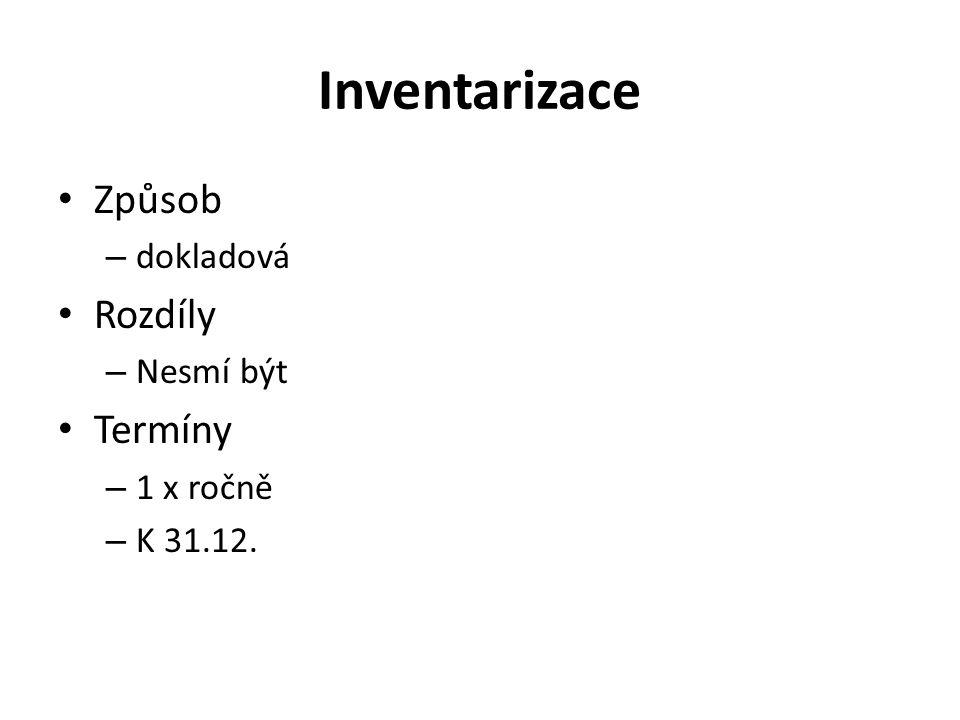 Inventarizace Způsob – dokladová Rozdíly – Nesmí být Termíny – 1 x ročně – K 31.12.