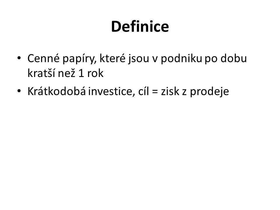 Definice Cenné papíry, které jsou v podniku po dobu kratší než 1 rok Krátkodobá investice, cíl = zisk z prodeje