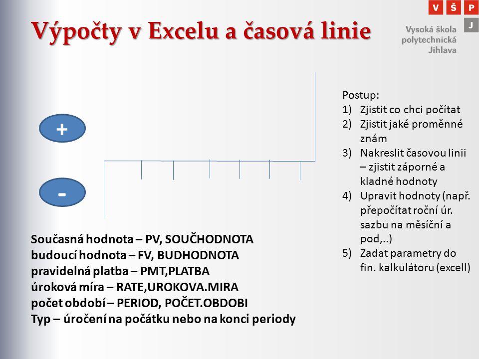 Výpočty v Excelu a časová linie Současná hodnota – PV, SOUČHODNOTA budoucí hodnota – FV, BUDHODNOTA pravidelná platba – PMT,PLATBA úroková míra – RATE