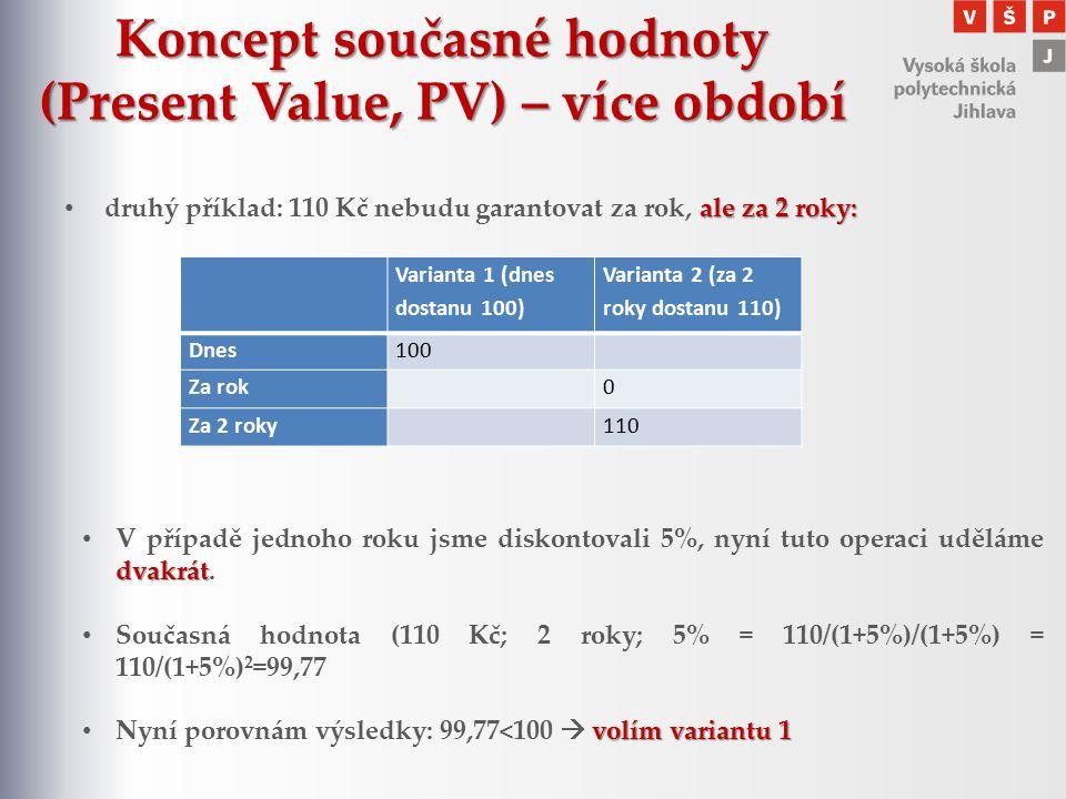 Koncept současné hodnoty (Present Value, PV) – více období ale za 2 roky: druhý příklad: 110 Kč nebudu garantovat za rok, ale za 2 roky: Varianta 1 (d