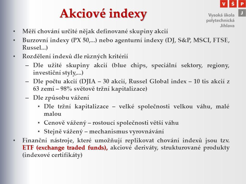 Akciové indexy Měří chování určité nějak definované skupiny akcií Burzovní indexy (PX 50,...) nebo agenturní indexy (DJ, S&P, MSCI, FTSE, Russel...) R