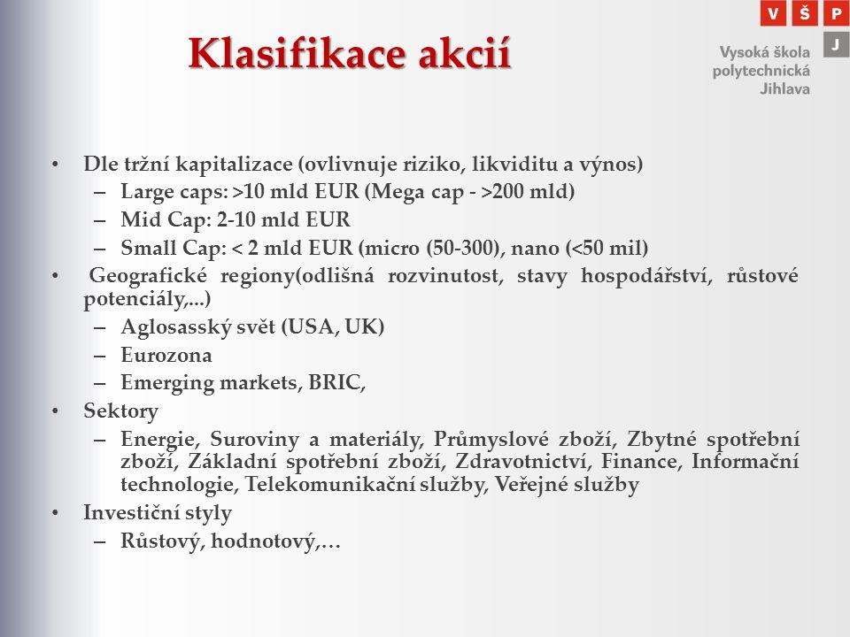 Klasifikace akcií Dle tržní kapitalizace (ovlivnuje riziko, likviditu a výnos) – Large caps: >10 mld EUR (Mega cap - >200 mld) – Mid Cap: 2-10 mld EUR