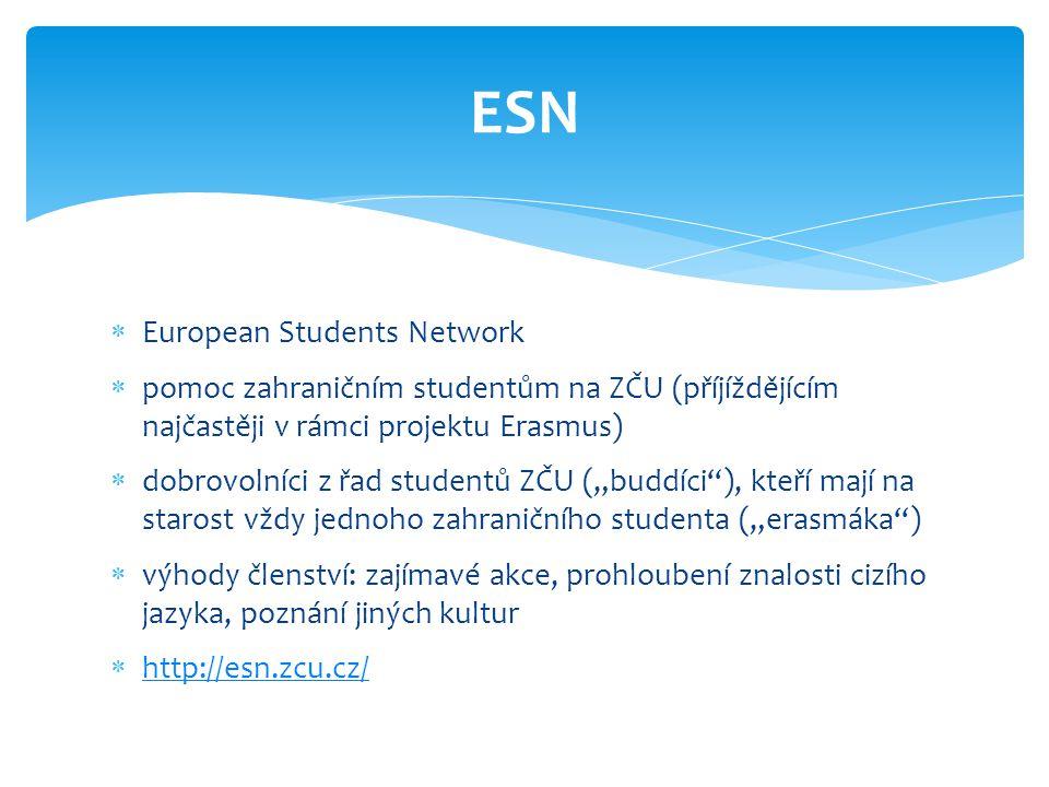  European Students Network  pomoc zahraničním studentům na ZČU (příjíždějícím najčastěji v rámci projektu Erasmus)  dobrovolníci z řad studentů ZČU