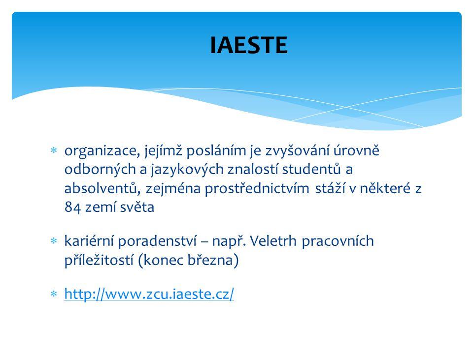  organizace, jejímž posláním je zvyšování úrovně odborných a jazykových znalostí studentů a absolventů, zejména prostřednictvím stáží v některé z 84
