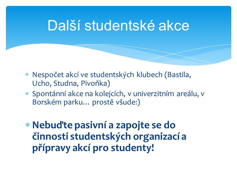  Nespočet akcí ve studentských klubech (Bastila, Ucho, Studna, Pivoňka)  Spontánní akce na kolejcích, v univerzitním areálu, v Borském parku… prostě