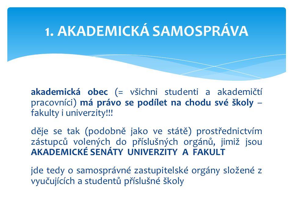 akademická obec (= všichni studenti a akademičtí pracovníci) má právo se podílet na chodu své školy – fakulty i univerzity!!! děje se tak (podobně jak