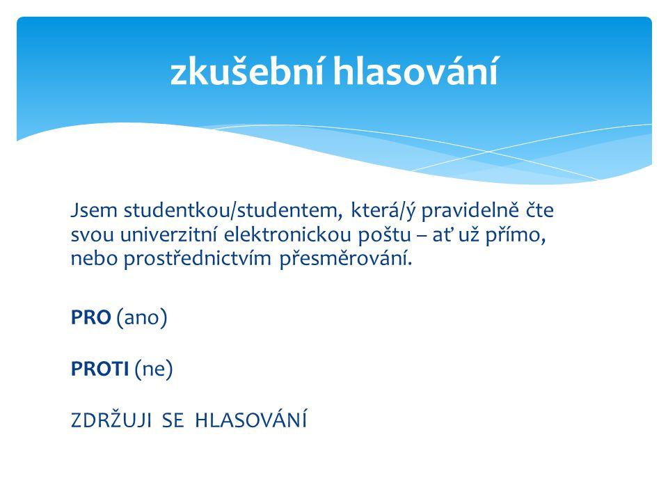 Jsem studentkou/studentem, která/ý pravidelně čte svou univerzitní elektronickou poštu – ať už přímo, nebo prostřednictvím přesměrování. PRO (ano) PRO