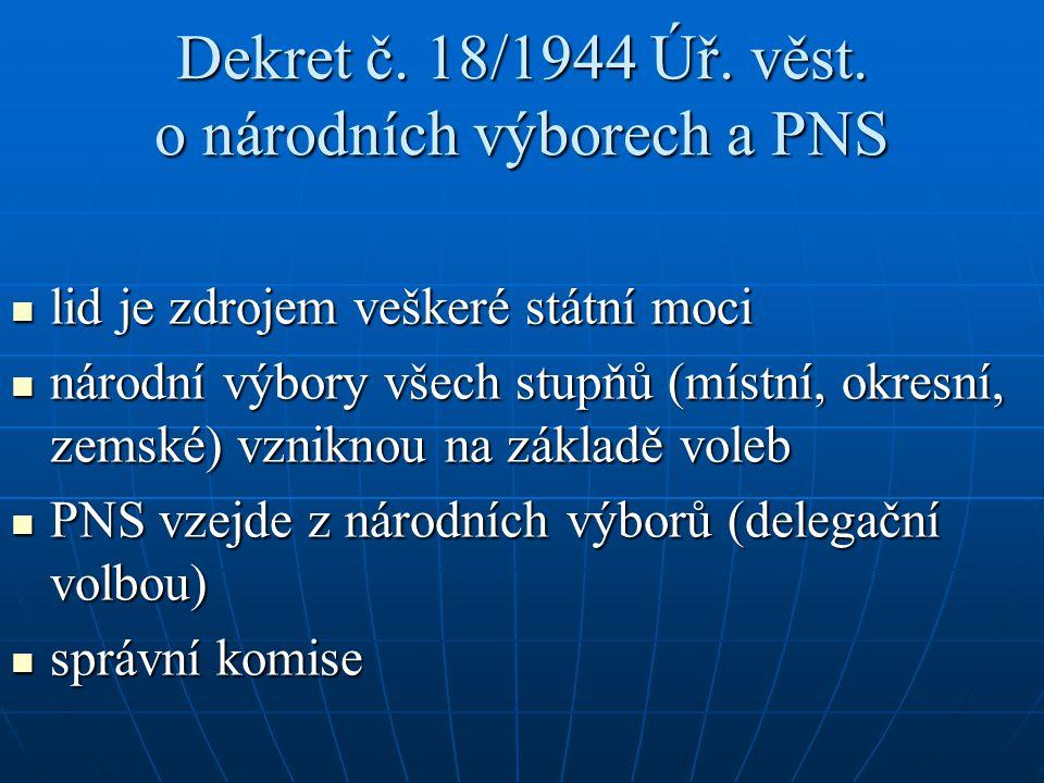 Dekret č. 18/1944 Úř. věst. o národních výborech a PNS lid je zdrojem veškeré státní moci lid je zdrojem veškeré státní moci národní výbory všech stup