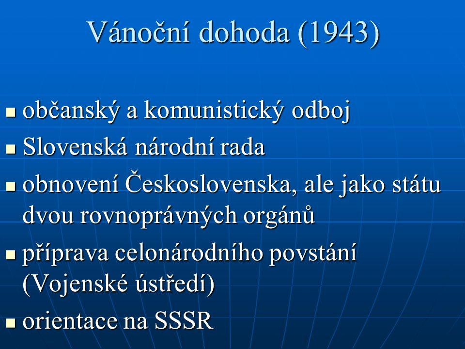 Vánoční dohoda (1943) občanský a komunistický odboj občanský a komunistický odboj Slovenská národní rada Slovenská národní rada obnovení Československ
