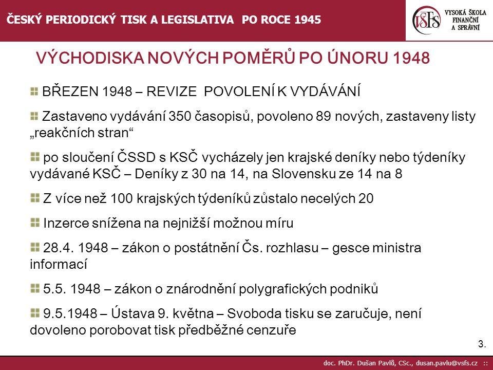 3.3. doc. PhDr. Dušan Pavlů, CSc., dusan.pavlu@vsfs.cz :: ČESKÝ PERIODICKÝ TISK A LEGISLATIVA PO ROCE 1945 BŘEZEN 1948 – REVIZE POVOLENÍ K VYDÁVÁNÍ Za