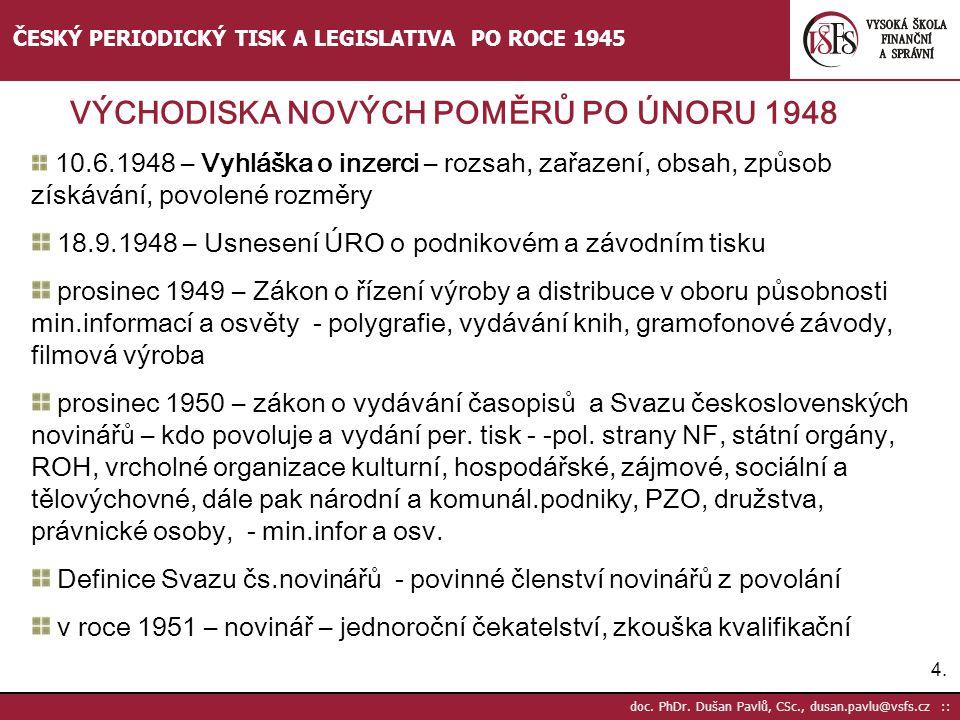 4.4. doc. PhDr. Dušan Pavlů, CSc., dusan.pavlu@vsfs.cz :: ČESKÝ PERIODICKÝ TISK A LEGISLATIVA PO ROCE 1945 10.6.1948 – Vyhláška o inzerci – rozsah, za