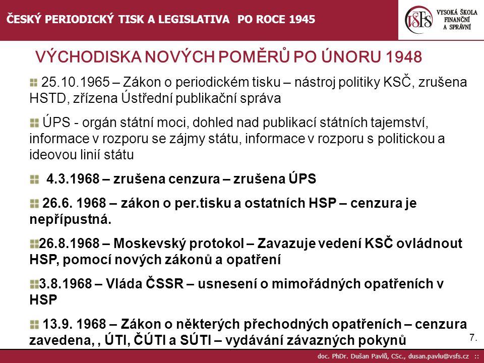 7.7. doc. PhDr. Dušan Pavlů, CSc., dusan.pavlu@vsfs.cz :: ČESKÝ PERIODICKÝ TISK A LEGISLATIVA PO ROCE 1945 25.10.1965 – Zákon o periodickém tisku – ná