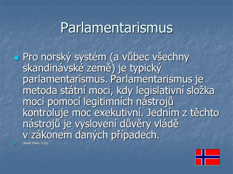 Parlamentarismus Pro norský systém (a vůbec všechny skandinávské země) je typický parlamentarismus. Parlamentarismus je metoda státní moci, kdy legisl