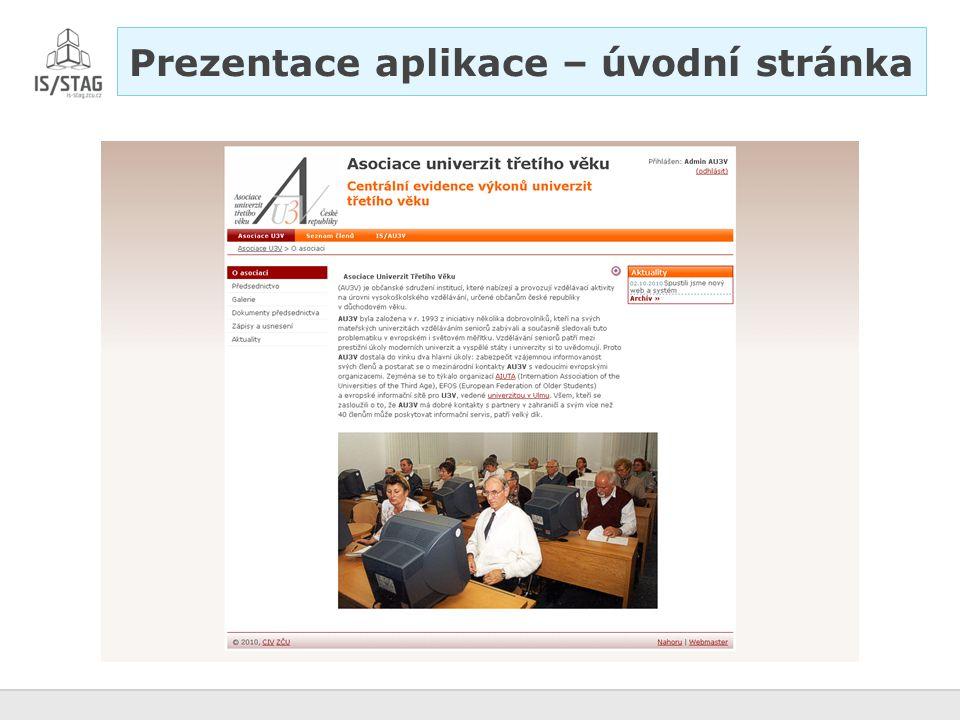Prezentace aplikace – úvodní stránka