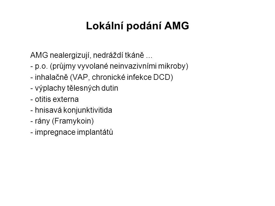Lokální podání AMG AMG nealergizují, nedráždí tkáně... - p.o. (průjmy vyvolané neinvazivními mikroby) - inhalačně (VAP, chronické infekce DCD) - výpla