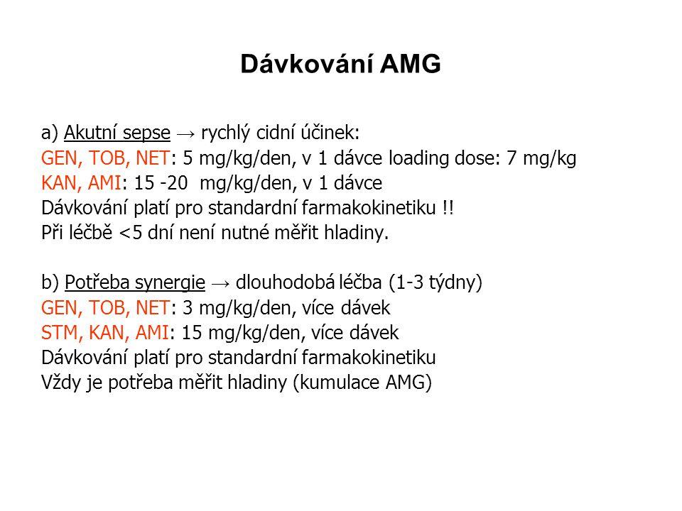 Dávkování AMG a) Akutní sepse → rychlý cidní účinek: GEN, TOB, NET: 5 mg/kg/den, v 1 dávce loading dose: 7 mg/kg KAN, AMI: 15 -20 mg/kg/den, v 1 dávce