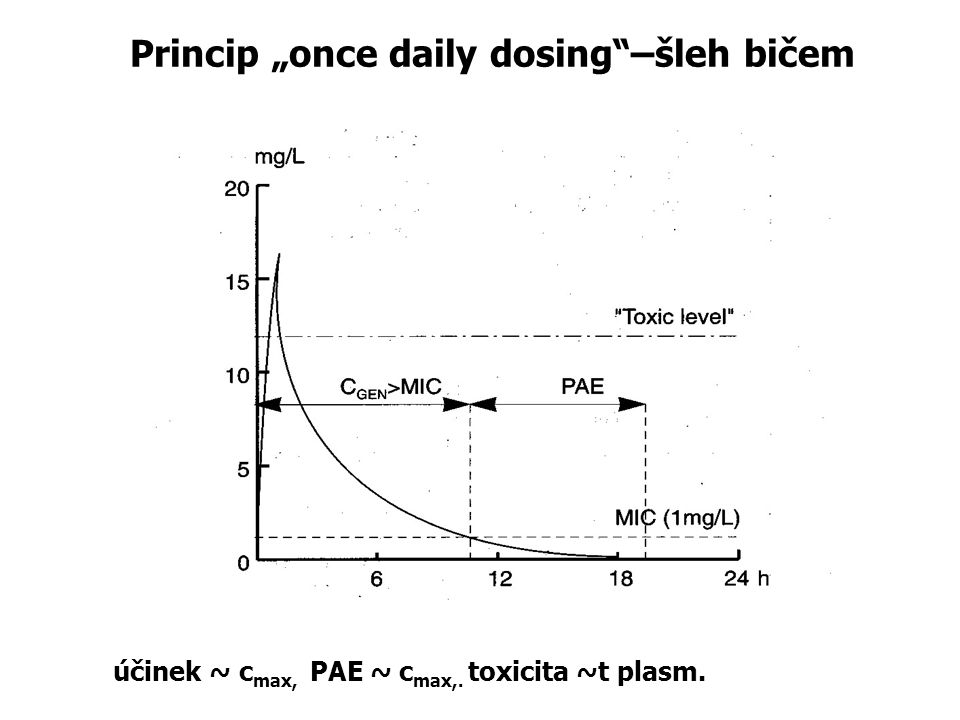 "Princip ""once daily dosing""–šleh bičem účinek ~ c max, PAE ~ c max,. toxicita ~t plasm."