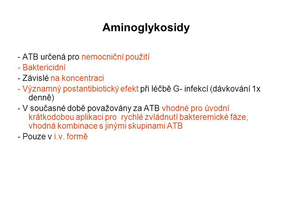 Aminoglykosidy - ATB určená pro nemocniční použití - Baktericidní - Závislé na koncentraci - Významný postantibiotický efekt při léčbě G- infekcí (dáv