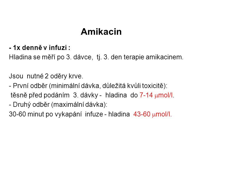 Amikacin - 1x denně v infuzi : Hladina se měří po 3. dávce, tj. 3. den terapie amikacinem. Jsou nutné 2 oděry krve. - První odběr (minimální dávka, dů