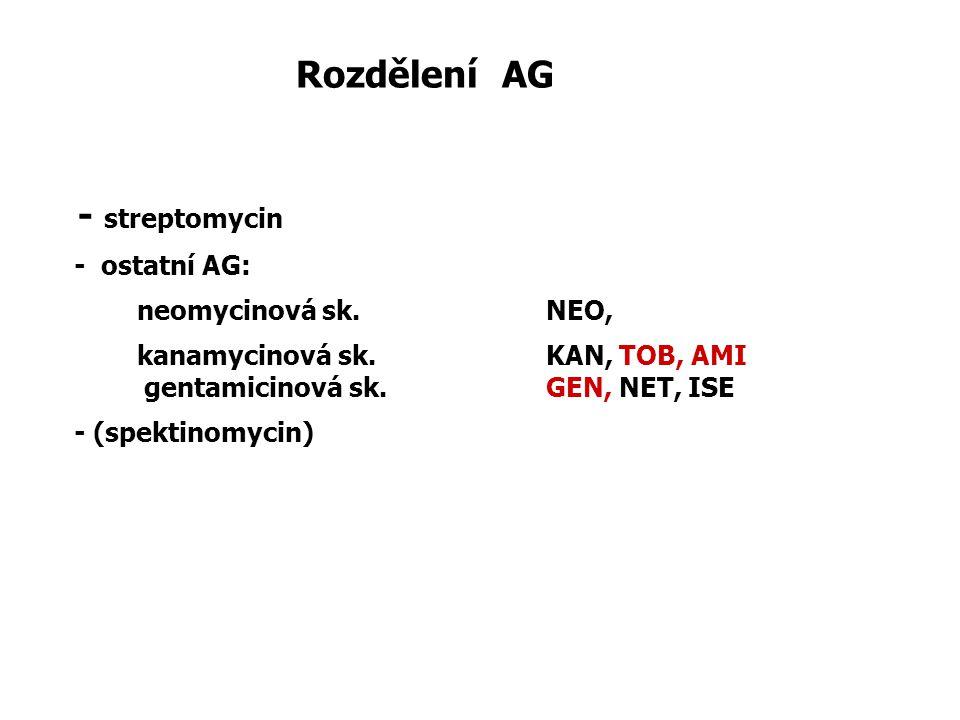 Rozdělení AG - streptomycin - ostatní AG: neomycinová sk. NEO, kanamycinová sk.KAN, TOB, AMI gentamicinová sk.GEN, NET, ISE - (spektinomycin)