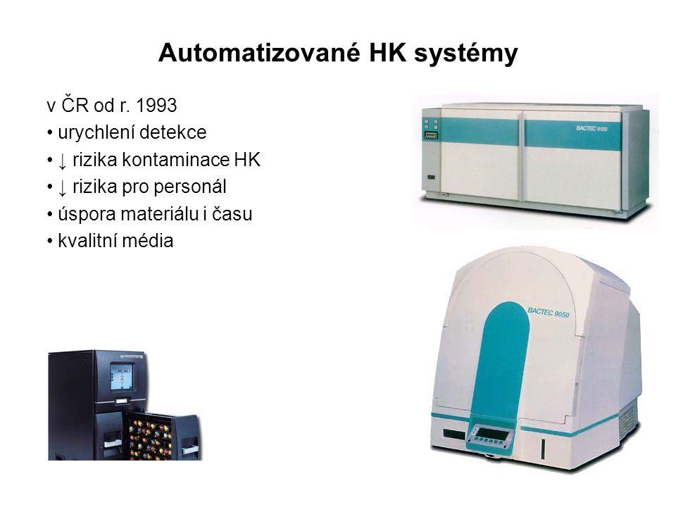 Automatizované HK systémy v ČR od r. 1993 urychlení detekce ↓ rizika kontaminace HK ↓ rizika pro personál úspora materiálu i času kvalitní média