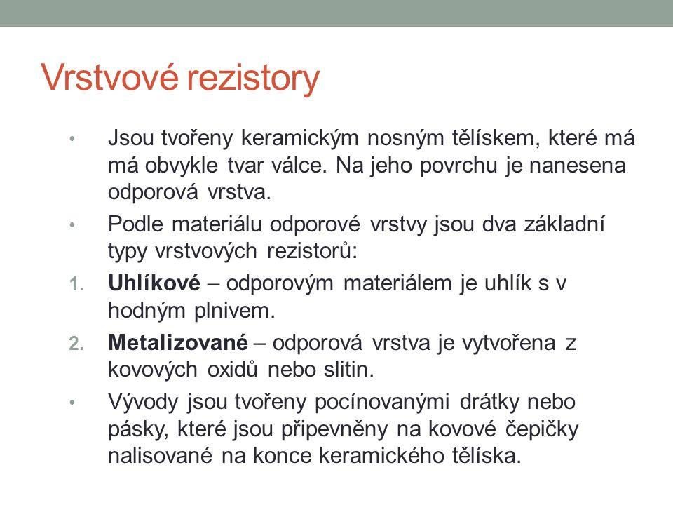 Ukázka různých typů rezistorů