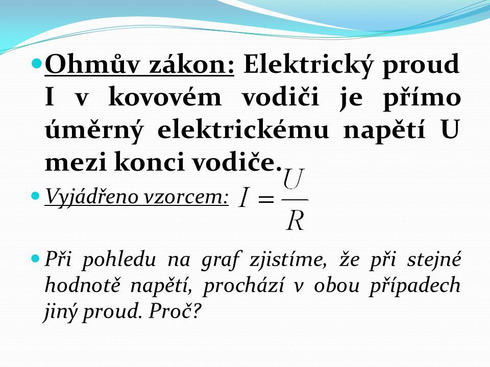Ohmův zákon: Elektrický proud I v kovovém vodiči je přímo úměrný elektrickému napětí U mezi konci vodiče. Vyjádřeno vzorcem: Při pohledu na graf zjist