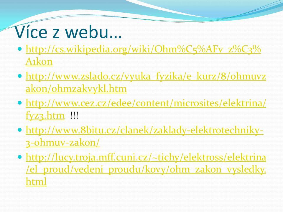 Více z webu… http://cs.wikipedia.org/wiki/Ohm%C5%AFv_z%C3% A1kon http://cs.wikipedia.org/wiki/Ohm%C5%AFv_z%C3% A1kon http://www.zslado.cz/vyuka_fyzika
