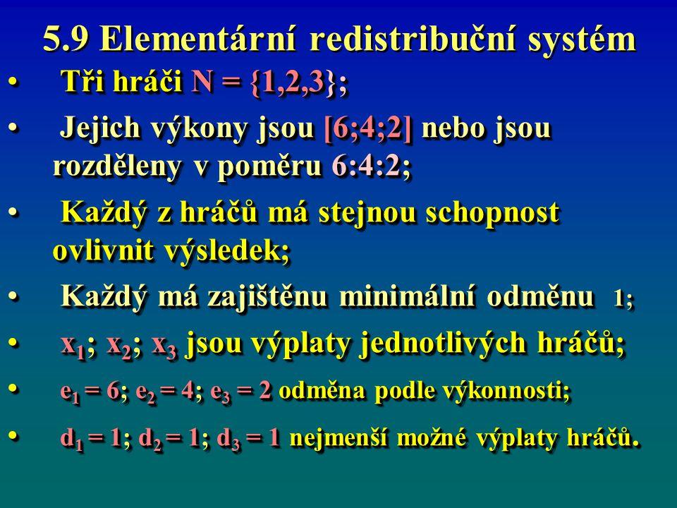 5.9 Elementární redistribuční systém Tři hráči N = {1,2,3}; Tři hráči N = {1,2,3}; Jejich výkony jsou [6;4;2] nebo jsou rozděleny v poměru 6:4:2; Jejich výkony jsou [6;4;2] nebo jsou rozděleny v poměru 6:4:2; Každý z hráčů má stejnou schopnost ovlivnit výsledek; Každý z hráčů má stejnou schopnost ovlivnit výsledek; Každý má zajištěnu minimální odměnu 1; Každý má zajištěnu minimální odměnu 1; x 1 ; x 2 ; x 3 jsou výplaty jednotlivých hráčů; x 1 ; x 2 ; x 3 jsou výplaty jednotlivých hráčů; e 1 = 6; e 2 = 4; e 3 = 2 odměna podle výkonnosti; e 1 = 6; e 2 = 4; e 3 = 2 odměna podle výkonnosti; d 1 = 1; d 2 = 1; d 3 = 1 nejmenší možné výplaty hráčů.