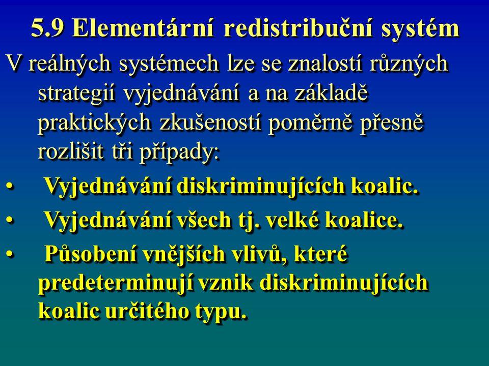 5.9 Elementární redistribuční systém V reálných systémech lze se znalostí různých strategií vyjednávání a na základě praktických zkušeností poměrně přesně rozlišit tři případy: Vyjednávání diskriminujících koalic.