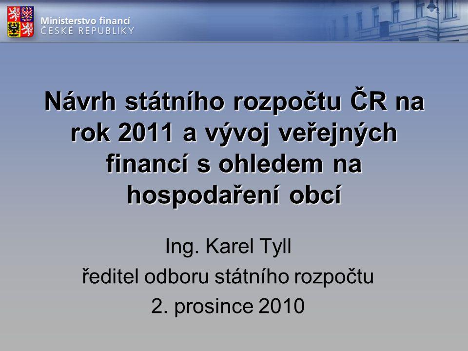Návrh státního rozpočtu ČR na rok 2011 a vývoj veřejných financí s ohledem na hospodaření obcí Ing.