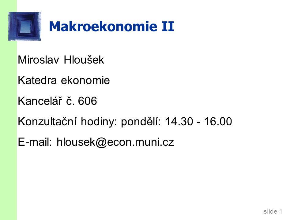 slide 1 Makroekonomie II Miroslav Hloušek Katedra ekonomie Kancelář č.