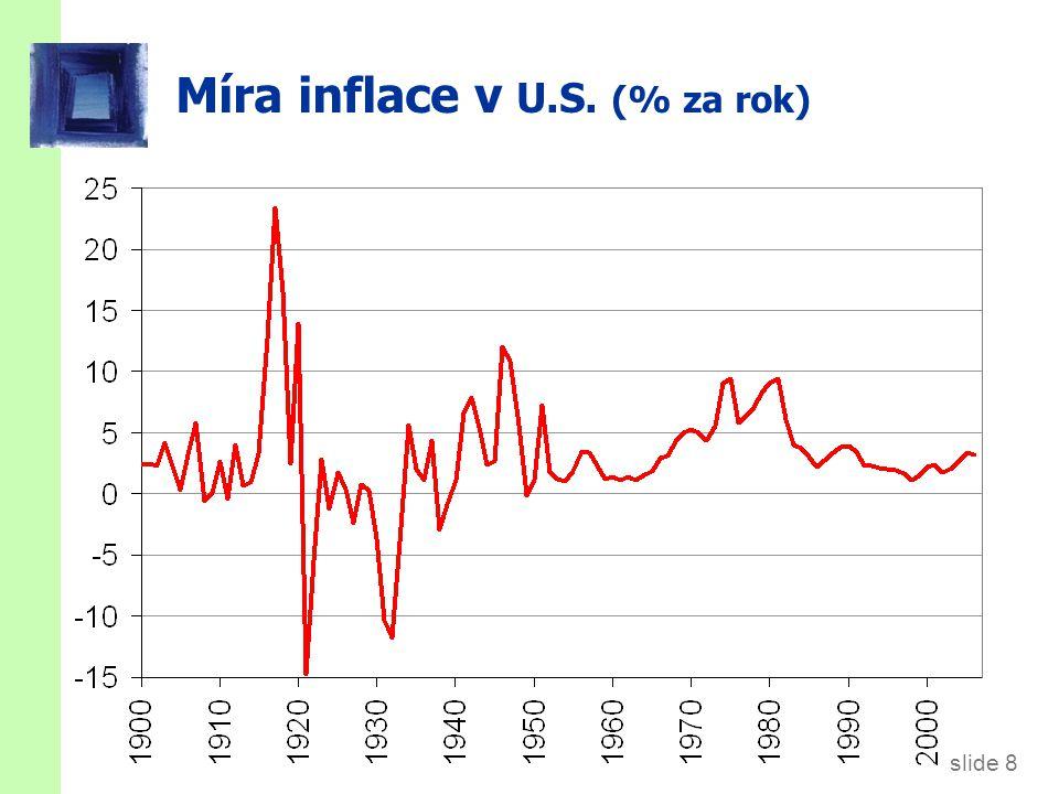 slide 8 CHAPTER 1 The Science of Macroeconomics Míra inflace v U.S. (% za rok)