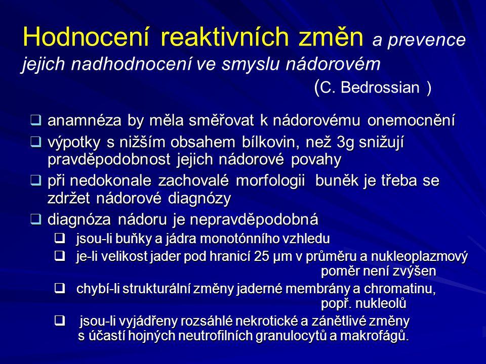 Hodnocení reaktivních změn a prevence jejich nadhodnocení ve smyslu nádorovém ( C. Bedrossian )  anamnéza by měla směřovat k nádorovému onemocnění 
