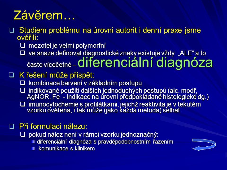 Závěrem…  Studiem problému na úrovni autorit i denní praxe jsme ověřili:  mezotel je velmi polymorfní  ve snaze definovat diagnostické znaky existu
