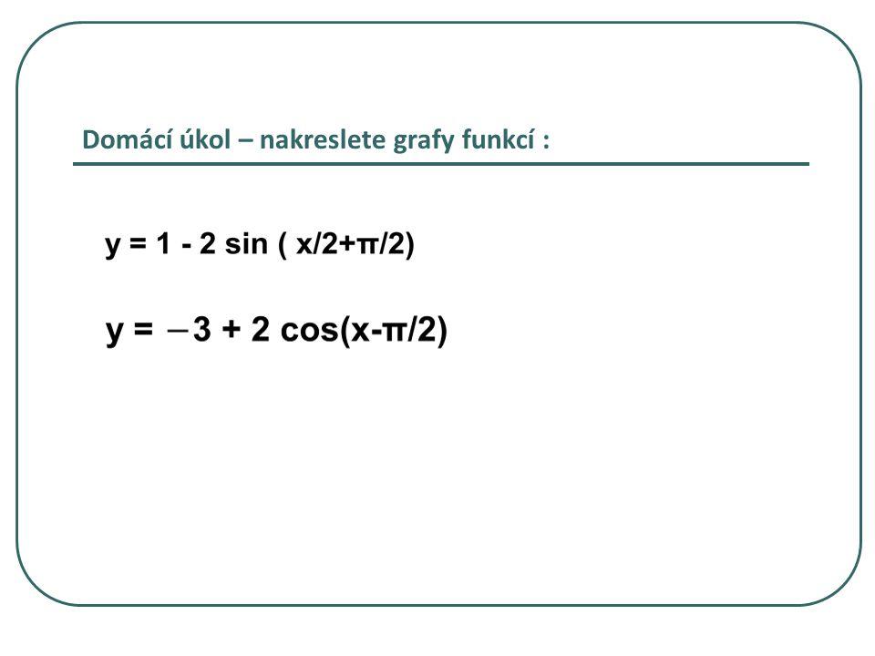 Domácí úkol – nakreslete grafy funkcí :
